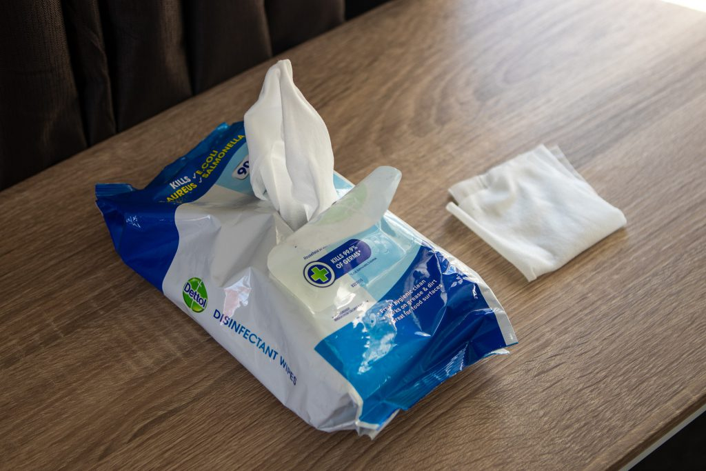 Package of disinfectant wipes